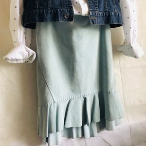 AT LOFT Powder Blue Suede Leather Skirt 6P
